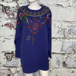 Vintage sequins sweater shoulder pads L